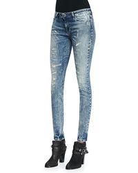 Iro Roxanne Striped Distressed Skinny Jeans - Lyst