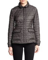 Burberry Brit Lunesbury Leather-Trim Quilted Jacket - Lyst