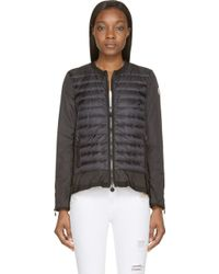 Moncler Black Quilted And Draping Alizee Jacket - Lyst