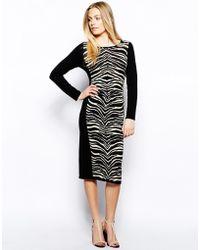 Oasis Zebra Sexy Bodyconscious Dress - Lyst