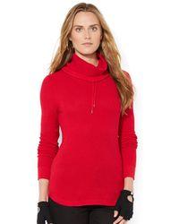 Lauren by Ralph Lauren Drawstring Cowlneck Sweater - Lyst