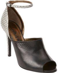 Lanvin Snakeskin Peep-Toe Sandals - Lyst