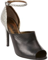Lanvin Snake Skin Peep Toe Sandals - Lyst