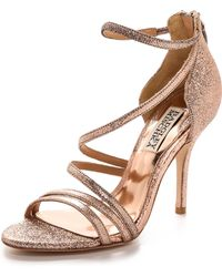 Badgley Mischka Landmark Ii Strappy Sandals  Rose Gold - Lyst
