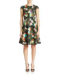 Chetta B - Cap Sleeve Printed Flared Dress - Lyst