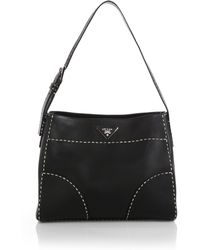 Prada City Calf Topstitched Hobo Bag - Lyst