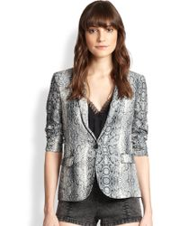 The Kooples Python-Print Crepe Jacket - Lyst