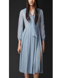 Burberry Layered Silk Vneck Dress - Lyst