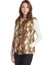 Sam Edelman Brown and Khaki Faux Fur Vest - Lyst