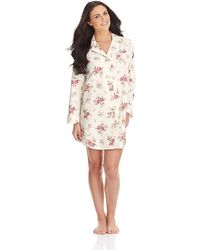 Lauren by Ralph Lauren Floral Print Piped Trim Sleep Shirt - Lyst