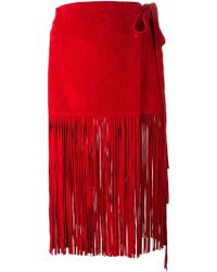 P.A.R.O.S.H. Fringed Skirt - Lyst