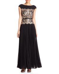 Tadashi Shoji | Pleated Lace-panel Dress | Lyst