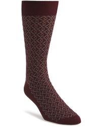 Canali Pattern Socks red - Lyst