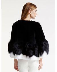 Halston | Colorblocked Fur Coat | Lyst