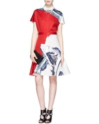 Prabal Gurung Ink Print Flare Hem Shirt Dress - Lyst