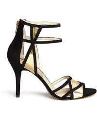 MICHAEL Michael Kors 'Jaida' Metallic Leather And Suede Sandals - Lyst