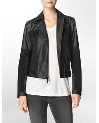 Calvin Klein Jeans Textured Faux Leather Zip Front Jacket - Lyst
