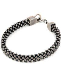 Laura B - Silver Pleated Brass & Leather Bracelet - Lyst