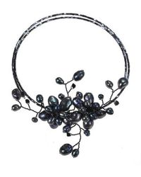 Aeravida - Black Pearl Floral Ray Choker Wire Wrap Necklace - Lyst