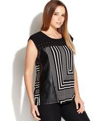 Calvin Klein Plus Size Faux Leather Trim Printed Studded Top - Lyst