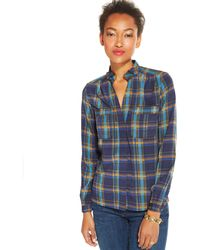 Tommy Hilfiger Plaid Button-down Top - Lyst