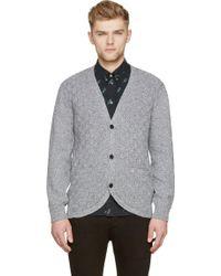Paul Smith Gray Marled Knit Cardigan - Lyst