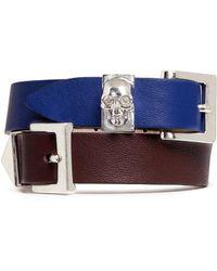 Alexander McQueen Three Buckle Double Wrap Leather Bracelet - Lyst