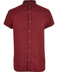 River Island Red Short Sleeve Oxford Shirt - Lyst