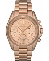 Michael Kors Bradshaw Chronograph Rosegold Plated Steel Watch Rose Gold - Lyst