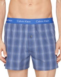 Calvin Klein Woven Check Slim Fit Boxers - Lyst