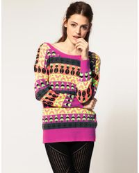 Asos Neon Holiday Sweater - Lyst
