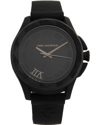 Karl Lagerfeld Black Wrist Watch - Lyst