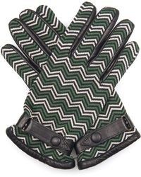 Orley - Chevron-Jacquard And Leather Gloves - Lyst