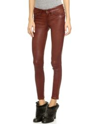 Rag & Bone The Leather Skinny Pants - Washed Cognac - Lyst