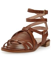 Stuart Weitzman Greek Strappy Leather Sandal Saddle - Lyst