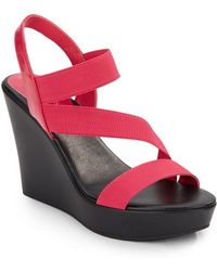 Charles by Charles David Patty Faux Leather & Elastic Wedge Sandals pink - Lyst