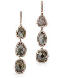 Anne Sisteron - 14kt Rose Gold Slice Diamond Triple Drop Earrings - Lyst