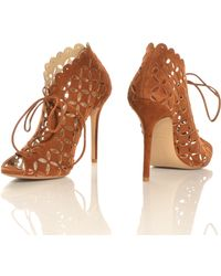 Sophie Gittins - Phoebe Laser-Cut Suede Open Toe Booties By - Lyst