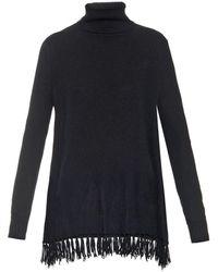 Velvet By Graham & Spencer Kyla Roll Neck Fringed Cashmere Sweater - Lyst
