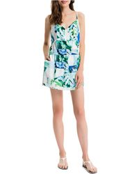 Cece by Cynthia Steffe - Blocked Floral Print Romper - Lyst