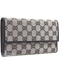 Gucci Preowned Monogram Canvas Black Long Wallet - Lyst