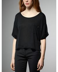 Patrizia Pepe Short Sleeve Sweater In Modal Jersey With Pocket - Lyst