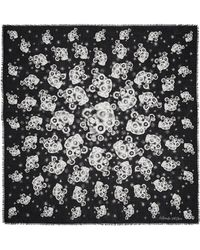 Alexander McQueen Starburst Skull Profile Print Modal-silk Scarf - Lyst
