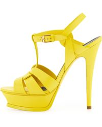Saint Laurent Tribute Highheel Leather Sandal Mustard - Lyst