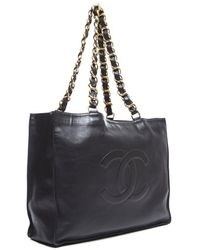 Chanel Preowned Black Lamsbskin Cc Large Shopper Tote - Lyst