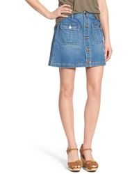 Hinge - A-line Denim Mini Skirt - Lyst