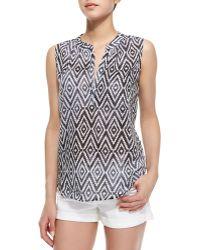 Lily Aldridge For Velvet - Kibo Diamond Zigzag Print Top Blue Pattern - Lyst