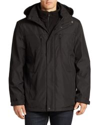 Calvin Klein Black Hooded Parka - Lyst