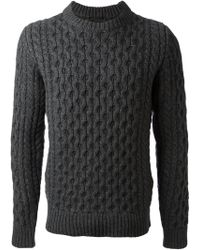 Diesel Black Gold Cable Knit Sweater - Lyst