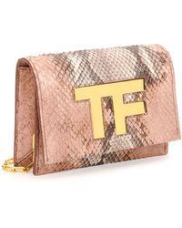Tom Ford Tf Small Python Flap Crossbody Bag - Lyst